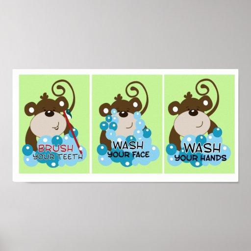 Monkey time bathroom art prints set of 3 print zazzle for Monkey bathroom set