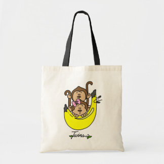 Monkey Twin Boy and Girl Tshirts and Gifts Budget Tote Bag