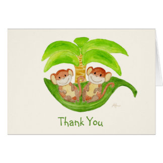 Monkey Twins Thank You Notecard Note Card