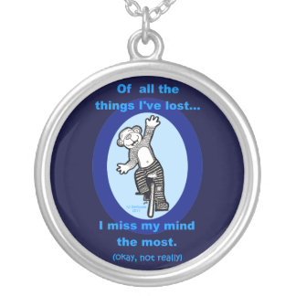 Monkey Unicycle Of all the things I've lost Silver Plated Necklace