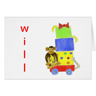 Monkey Wagon Gifts Notecards Greeting Card