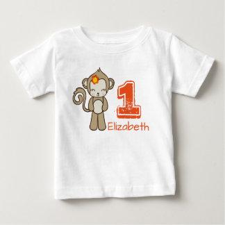 Monkey With A Flower Cute Kawaii Birthday Baby T-Shirt
