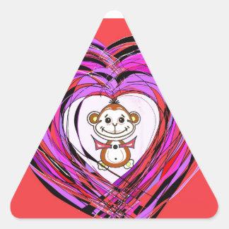 monkey with a heart triangle sticker