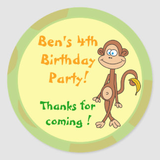 Monkey with Banana Birthday Party Stickers