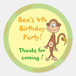 Monkey with Banana Birthday Party Stickers