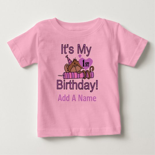 Monkey with Candle 1st Birthday Tshirt