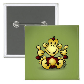 Monkey with four thumbs up 15 cm square badge