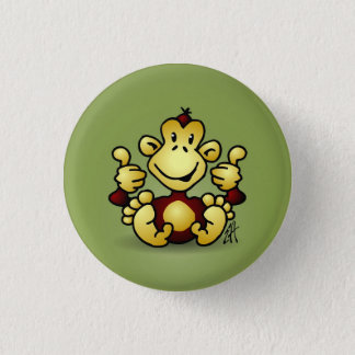 Monkey with four thumbs up 3 cm round badge