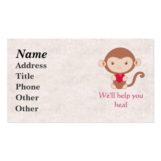 Monkey with heart business cards