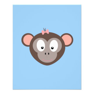 Monkey with pink ribbon 11.5 cm x 14 cm flyer