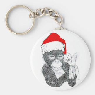 MONKEY WITH SANTA HAT AND BANANA KEY RING