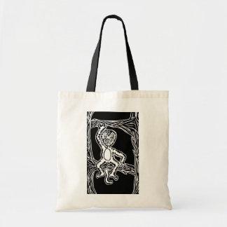 monkey woodprint canvas bag