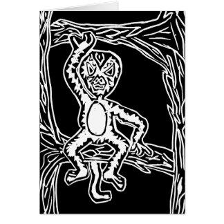 monkey woodprint note card