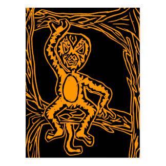 monkey woodprint postcard