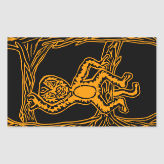 monkey woodprint rectangular sticker