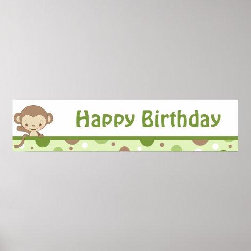 Monkey Zoo Birthday Banner-boy Posters
