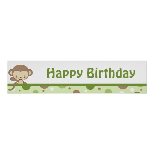 Monkey Zoo Birthday Banner-boy Poster