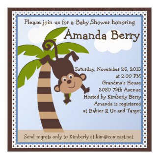 Monkeying Around Monkey Baby Shower Invitation