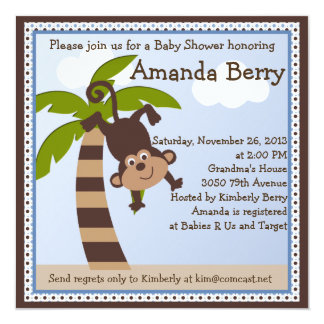Monkeying Around/Monkey Baby Shower Invitation