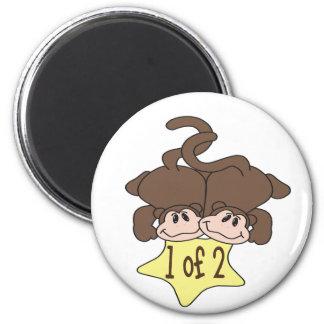 Monkeys 1 of 2 6 cm round magnet