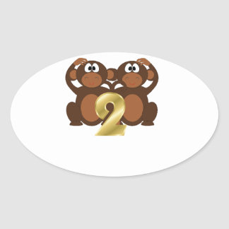 Monkeys 2 from the book Animals and Numbers Oval Sticker