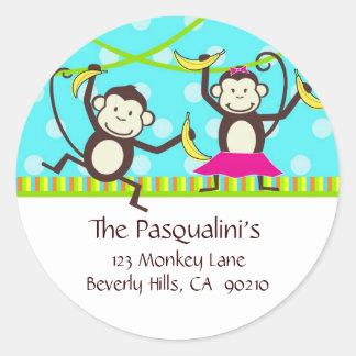 Monkeys Address Labels Round Sticker