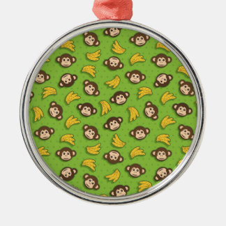 Monkeys and bananas Silver-Colored round decoration