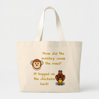 Monkeys and Chickens Large Tote Bag