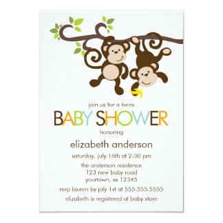 Monkeys and Polka Dots Twins Baby Shower 13 Cm X 18 Cm Invitation Card