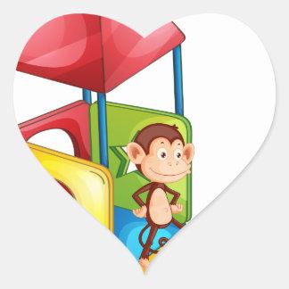 Monkeys and slide heart sticker