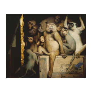 Monkeys as Judges of Art Wood Print