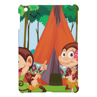 monkeys camping iPad mini covers