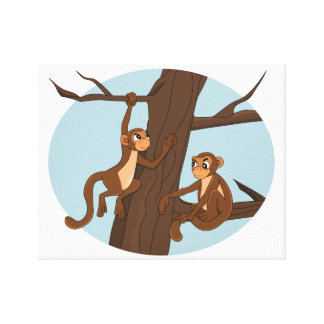 Monkeys climbing the tree cartoon canvas print