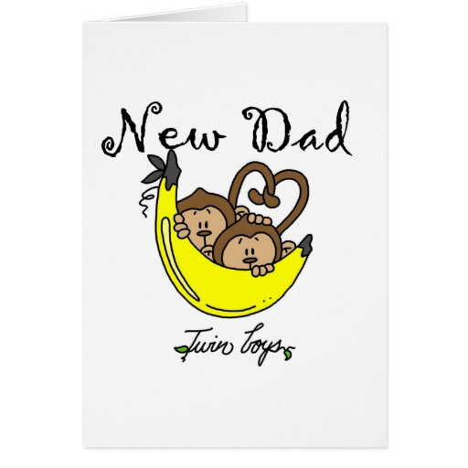 Monkeys Dad of Twin Boys Tshirts and Gifts Greeting Cards