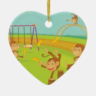 Monkeys Ceramic Heart Decoration