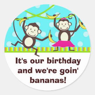 Monkeys Going Bananas Round Sticker