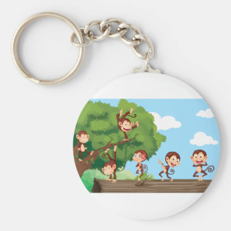 Monkeys in a park keychains