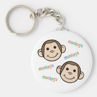 Monkeys Basic Round Button Key Ring