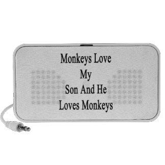 Monkeys Love My Son And He Loves Monkeys Laptop Speaker