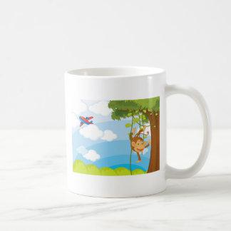 monkeys basic white mug