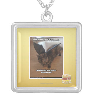 Monkeys on vacation silver plated necklace