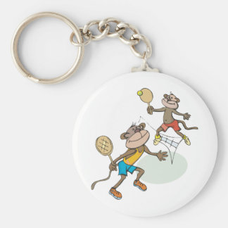 Monkeys Playing Tennis Basic Round Button Key Ring