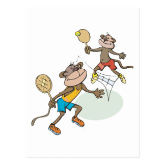 Monkeys Playing Tennis Postcard