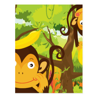 monkeys postcard