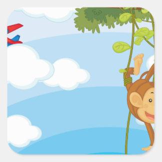 monkeys square sticker