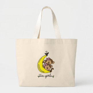 Monkeys Twin Girls T-shirts and Gifts Large Tote Bag