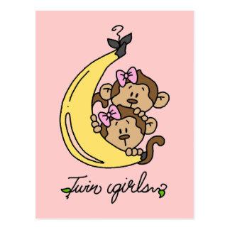 Monkeys Twin Girls T-shirts and Gifts Postcard