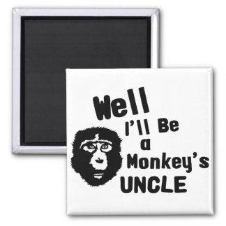 Monkeys Uncle Square Magnet