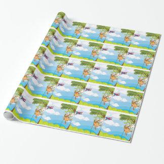 monkeys gift wrap paper