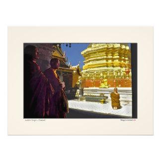 Monks at Golden Temple - Thailand Photo Art